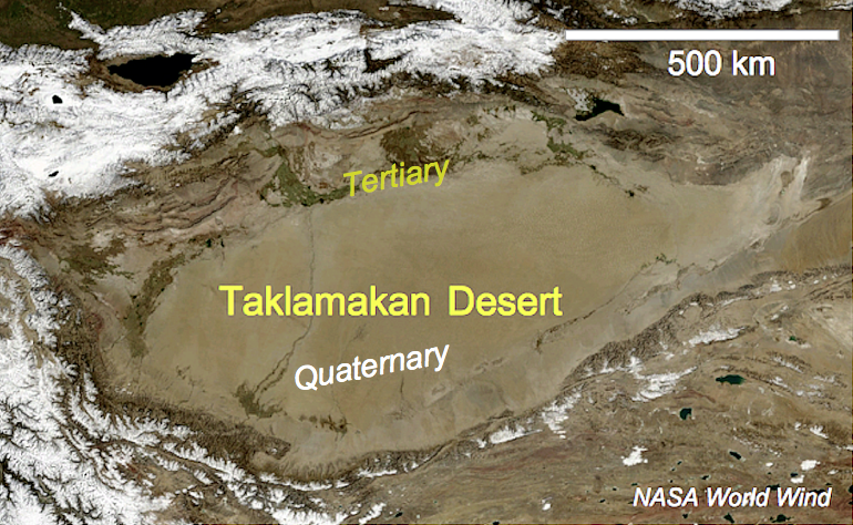 Taklamakan Desert basin and sketch geology