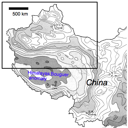 gravity map of the northern part of China