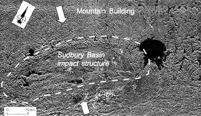 the Sudbury impact structure from space