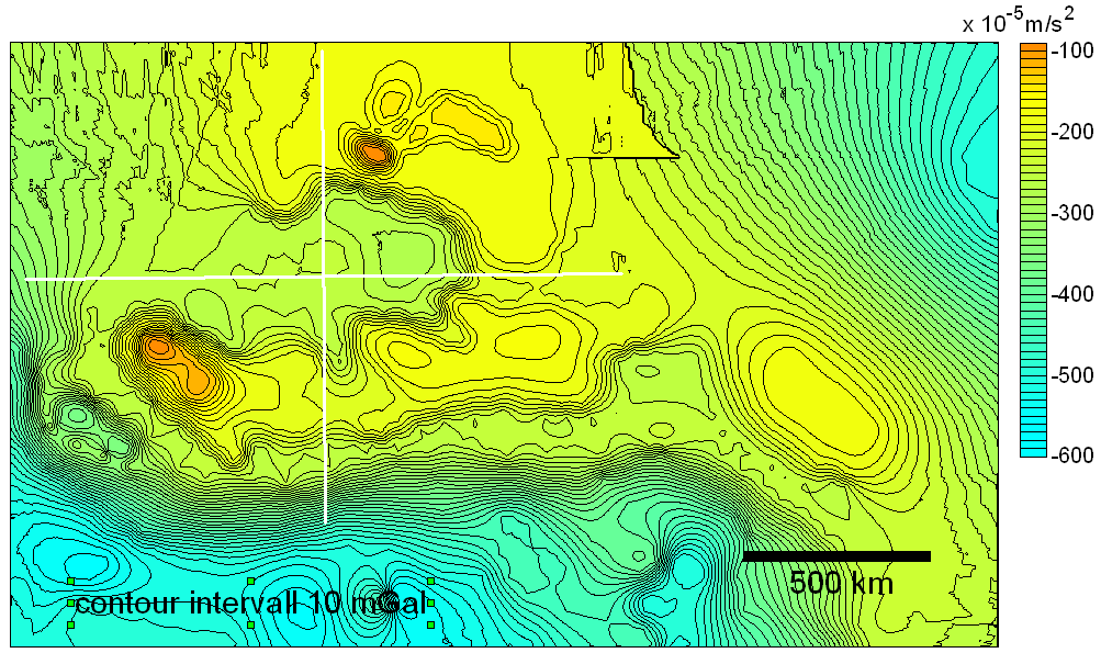 digitized Bouguer gravity map of the region north of the Himalayas