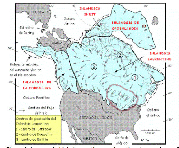 Laurentian Ice Sheet in the Americas.