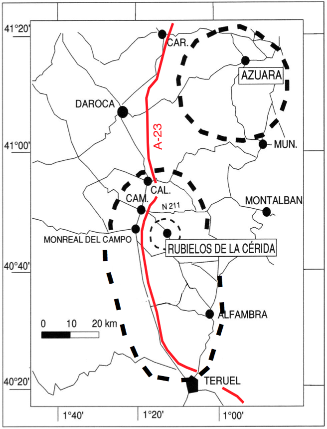 General map Azuara Rubielos de la Cérida