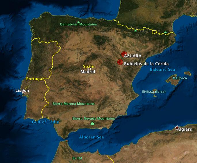 Map of Spain Azuara Rubielos de la Cérida